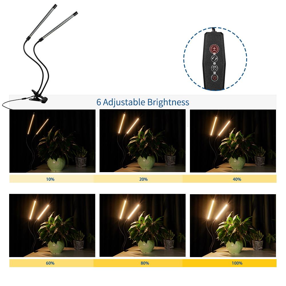 20W 40LED Pflanzenlampe 2Kopf Pflanzenleuchte Voll Spektrum Pflanzenlicht NEU