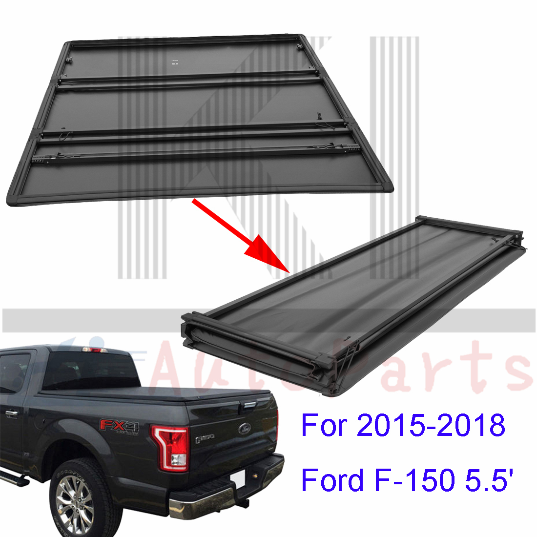 Soft Tri Fold Tonneau Cover For 2015 2018 Ford F 150 5 5ft Truck Bed Auto Parts And Vehicles Truck Bed Accessories Magenta Cl