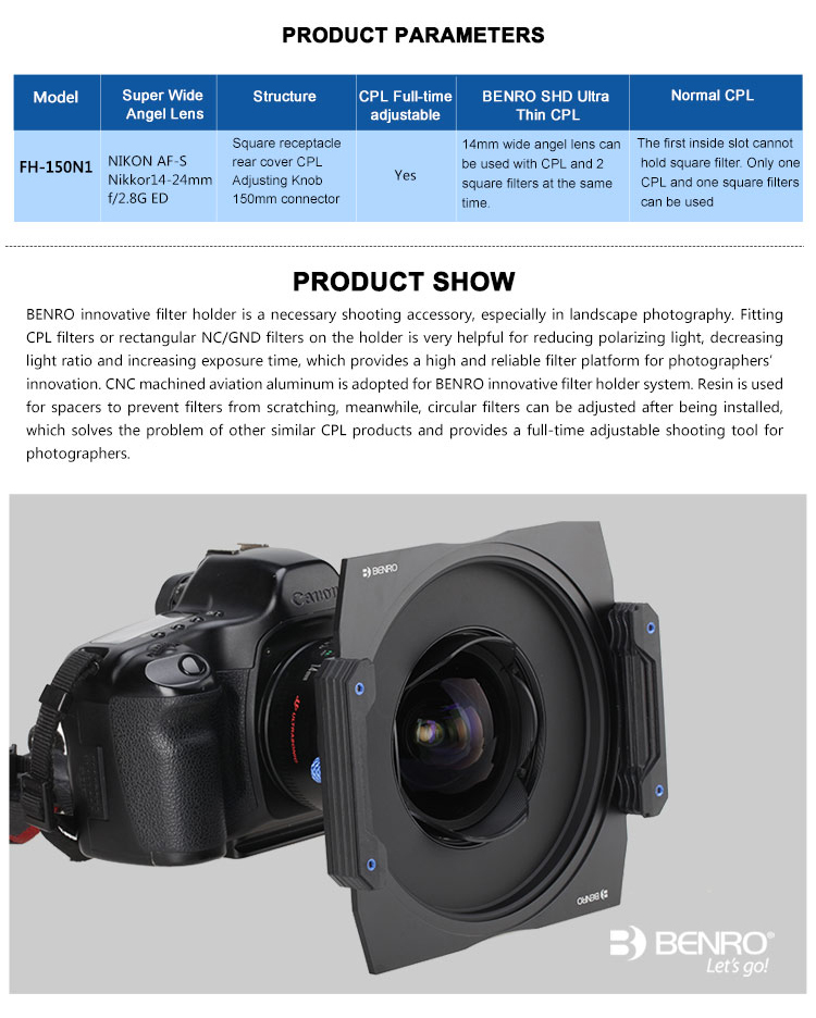 Benro FH150N1 Filter Holder+CPL Package for NIKON AF-S Nikkor14-24mm f//2.8G ED