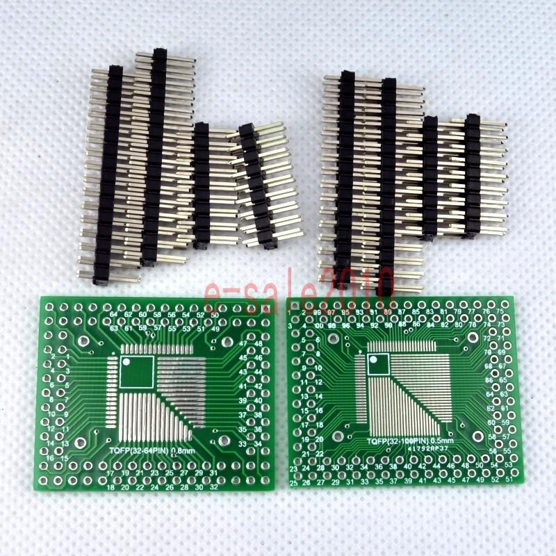 5pcs QFP//TQFP//LQFP//FQFP 32//44//64//80//100 to DIP Adapter PCB Board Converter IJ