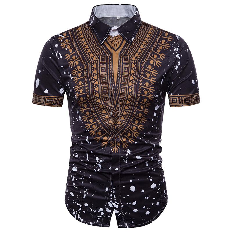 2898819cb African Tribal Shirt Men Dashiki Print Succinct Hippie Top Short Sleeve  Shirt