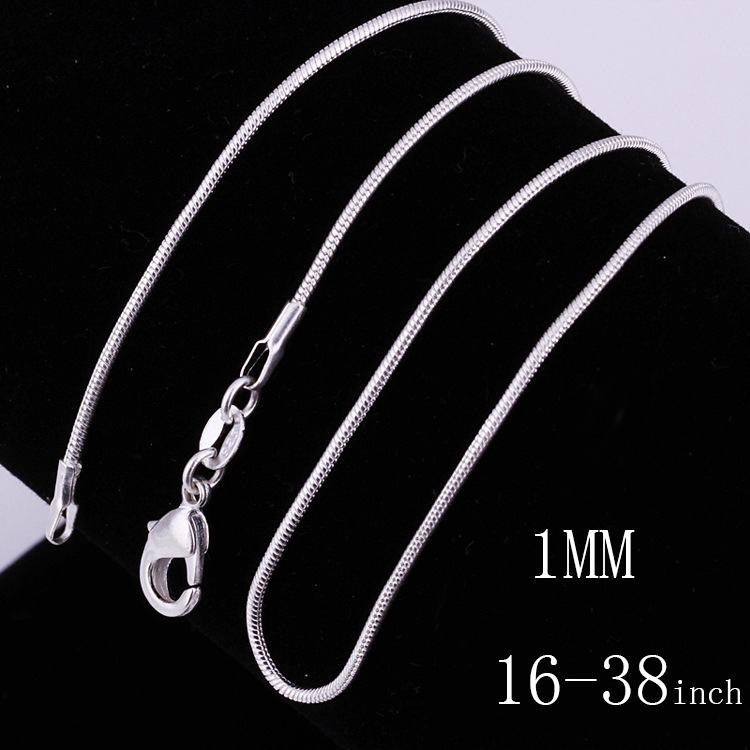 925 sterling solid silver 1MM snake chain Men Women necklace 16-38 inch
