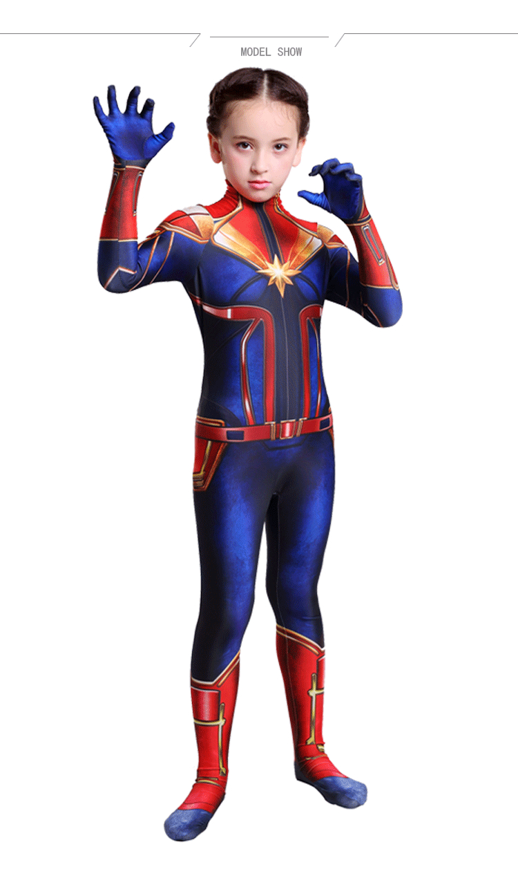 60de02b24c3 Details about Captain Marvel Ms Marvel Cosplay Costume Children Bodysuit  Zentai Suit For Kids