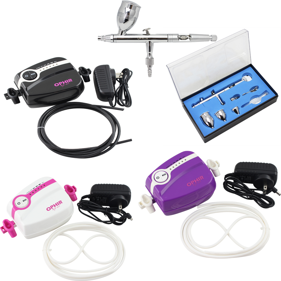 OPHIR 0.5mm Dual-Action Airbrush Mini Air Compressor for Body Art Model Paint