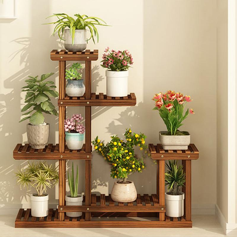 Multi Tier Flower Rack Plant Stand Holder Wood Shelves Bonsai Shelf Bookshef Us Ebay