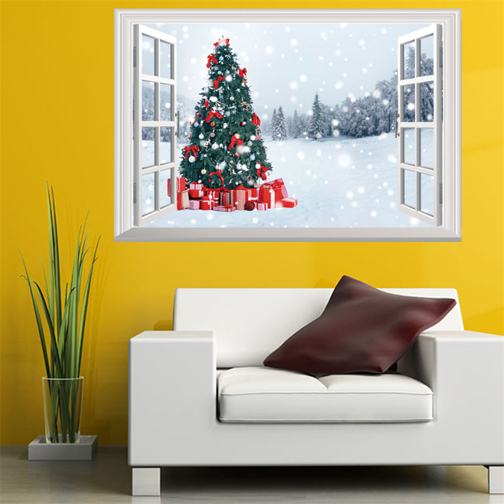 Christmas Tree 3D Fake Windows Three-dimensional Wall Sticker Home ...