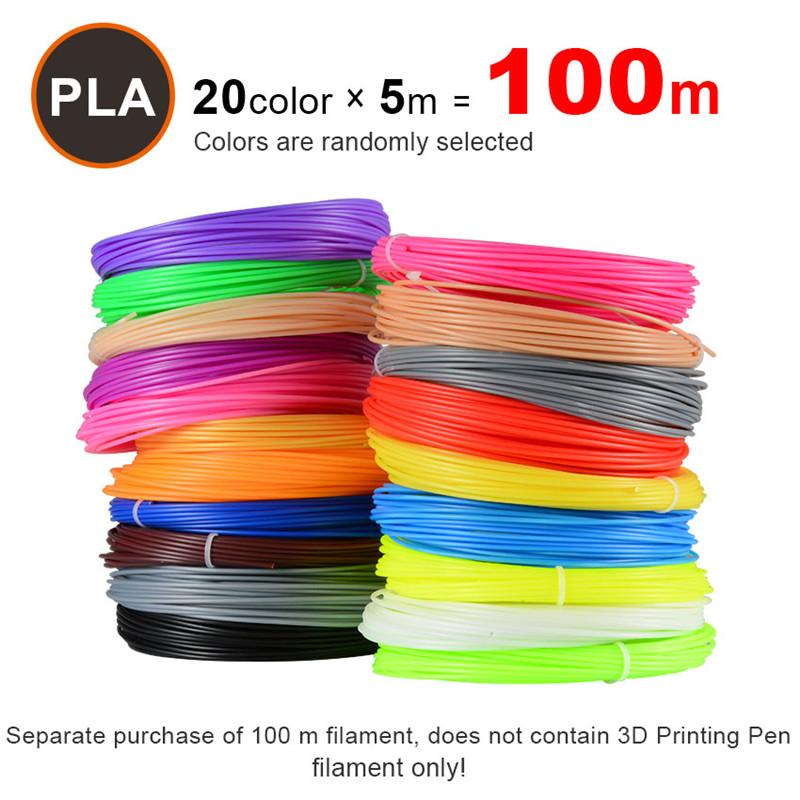 10 Colors 50//100m 3D Pen Filament PLA 1.75mm Plastic Rubber Printing Filaments
