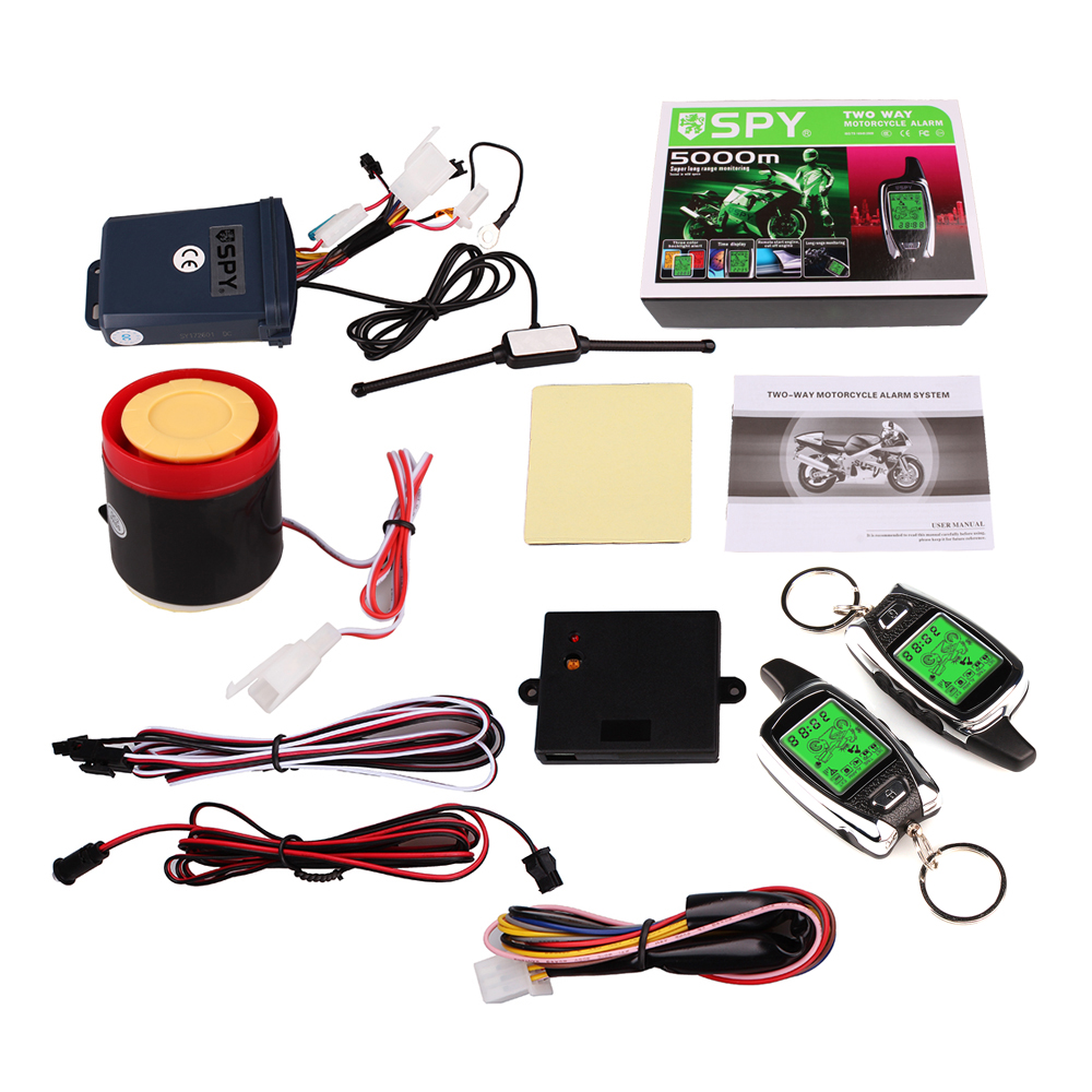 spy 5000m lcd motorcycle motorbike alarm two way remote. Black Bedroom Furniture Sets. Home Design Ideas