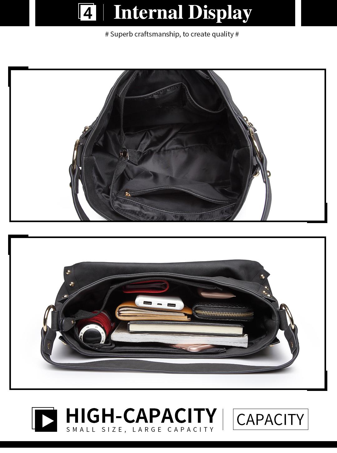 Miss Lulu Ladies Studded Large Hobo Chain Women Shoulder Bag PU Leather  Handbag 26e1e60661027