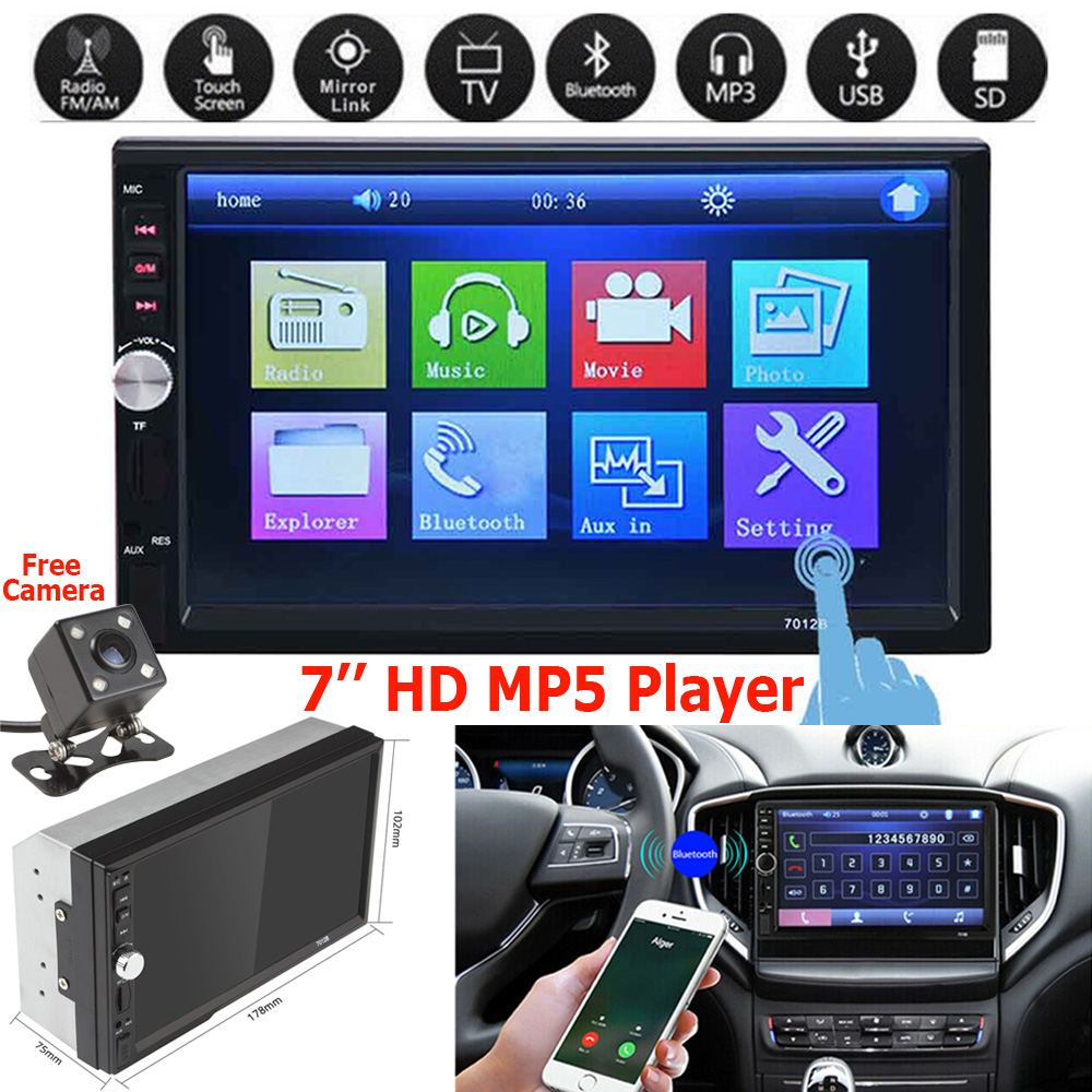 "2DIN 7/"" HD Car Stereo Radio MP5 Player Touch Screen With Rear Camera"