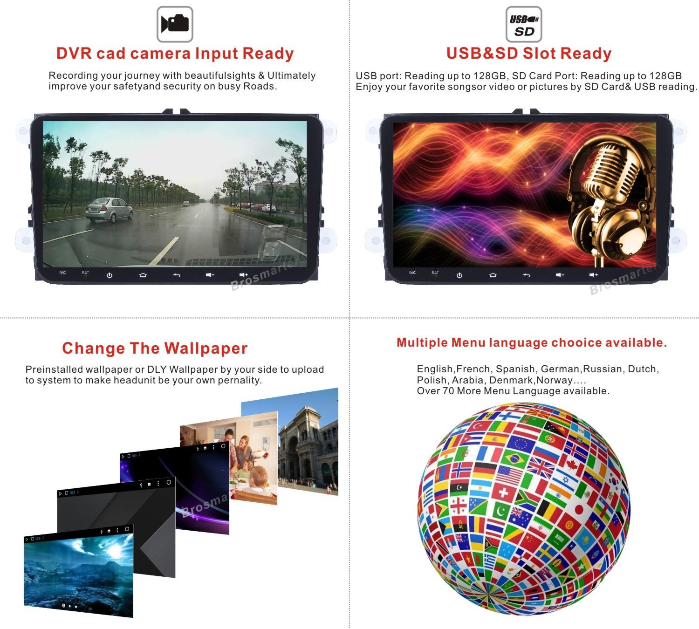 Details about Android Car Radio 2G+96G GPS Sat Nav BT for VW Golf MK5 MK6  PASSAT B6 TOURAN T5