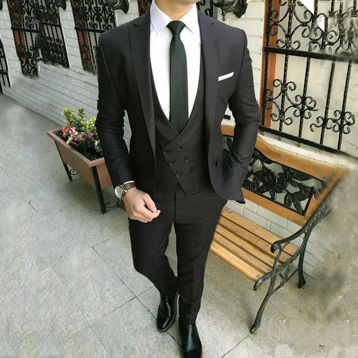 Details zu Schwarz Slim Fit Herrenanzug Hochzeit Abschlussball Formelle Smoking Anzug