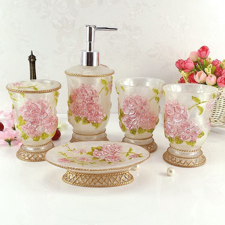 5pcs rose flower carving resin bathroom bath accessories for Floral bath accessories