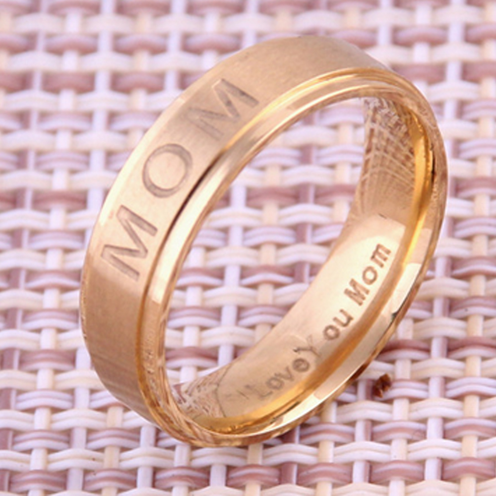 MOM Love you Mom Titanium Steel Band Ring Mens Women Cool Jewelry US ...