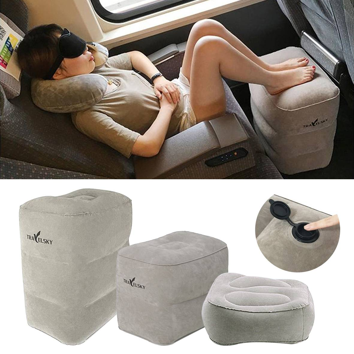 Inflatable Travel Footrest Leg Rest Travel Pillow Kids Bed to Lay