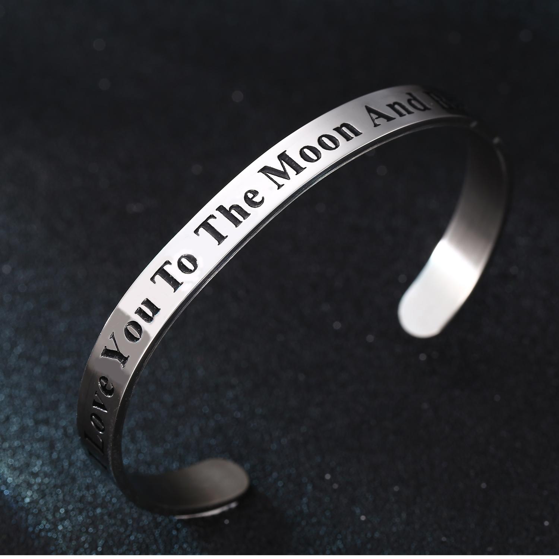 Mensaje Pulsera Brazalete de cotización de Amor Estampado abierta brazalete de acero inoxidable de hombre de mujer