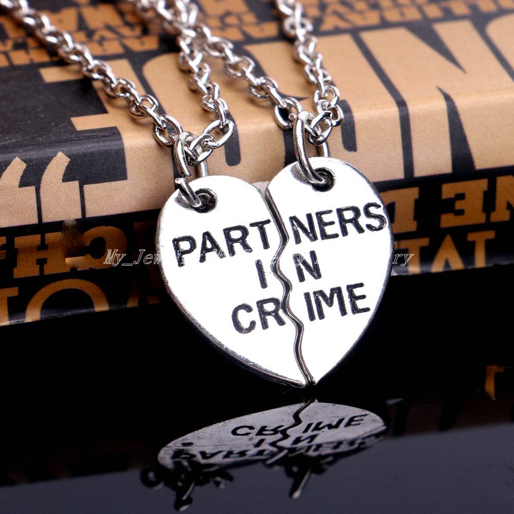 2P Broken Heart Yin Yang Charm Chain Pendant Necklace BFF Best Friend Birthday