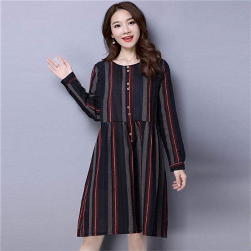 Korean Cotton Linen Plus Size Maternity Striped Vertical Stripes