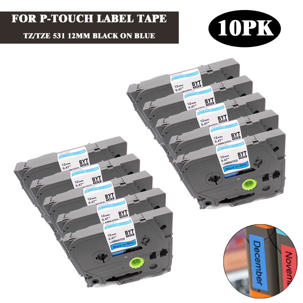 2PK TZe 531 TZ 531 Black on Blue Label Tape 1//2/'/' Compatible For Brother P-touch