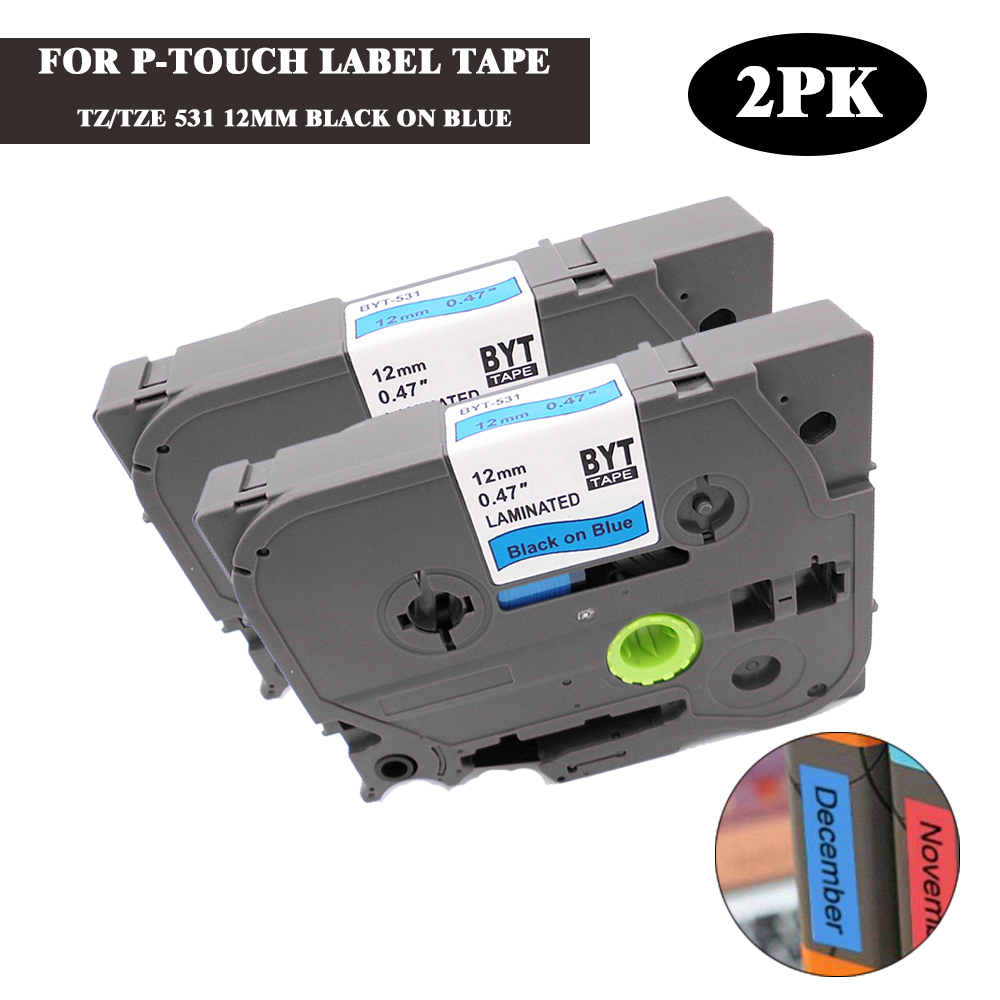 2 Compatible Label Tape TZ-531 TZe-531 12mm Black on Blue for Brother P-Touch