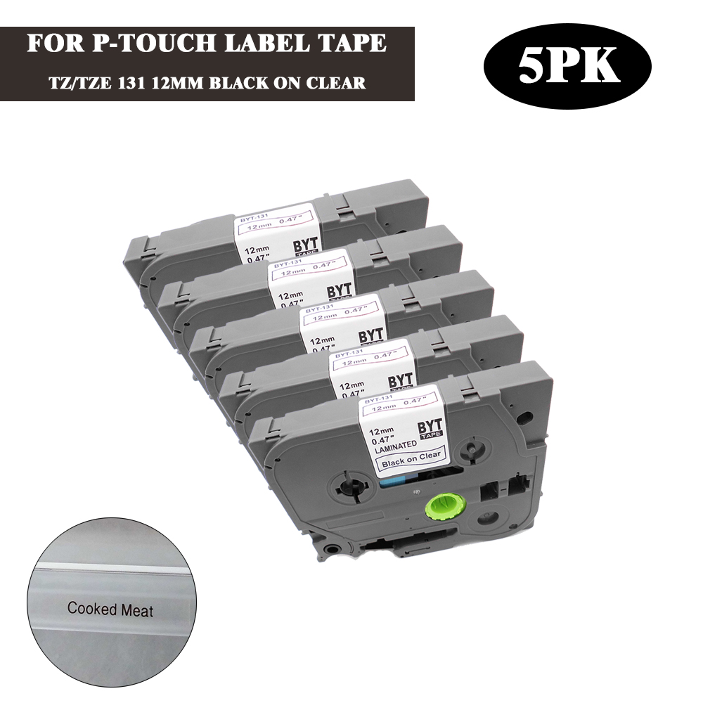 Brother Compatible TZ131 For P-Touch PT1910 PT1950 12mm Black//Clear Label Tape