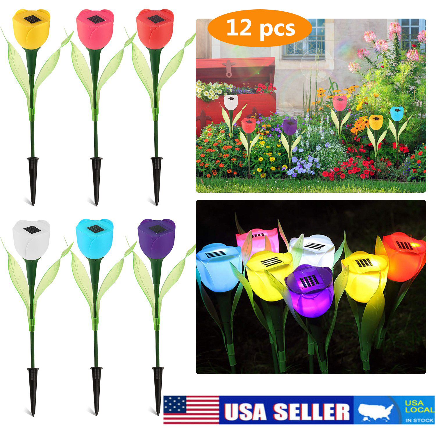 6x Outdoor Solar Powered LED Tulip Flower Lights Yard Garden Path Way Color Lamp