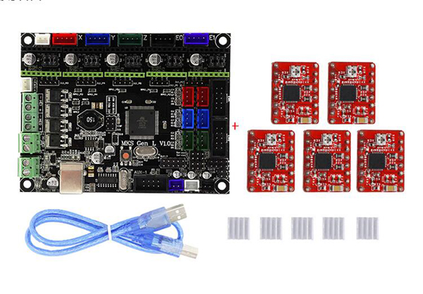 Details about MKS Gen L V1 0 PCB 3D Printer Controller Board Ramps With Red  5 x A4988 Driver