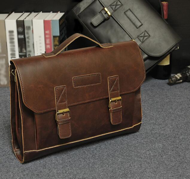 Men's Vintage Crazy Horse Leather Shoulder Messenger Bag Briefcase Laptop Bags