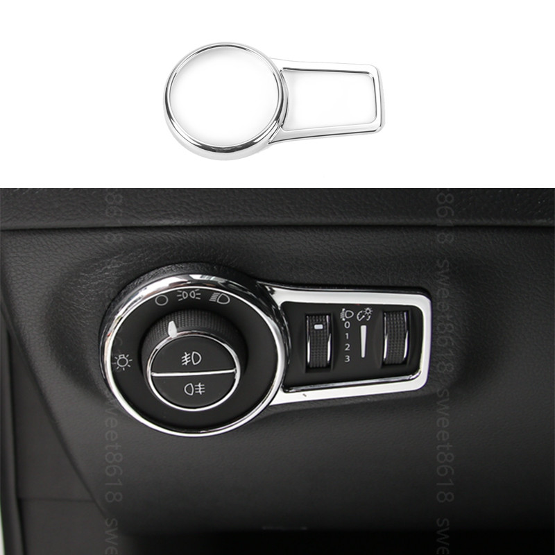 For Jeep Compass 2017 Headlight Lamp Switch Button Trim Cover Frame Silver ABS