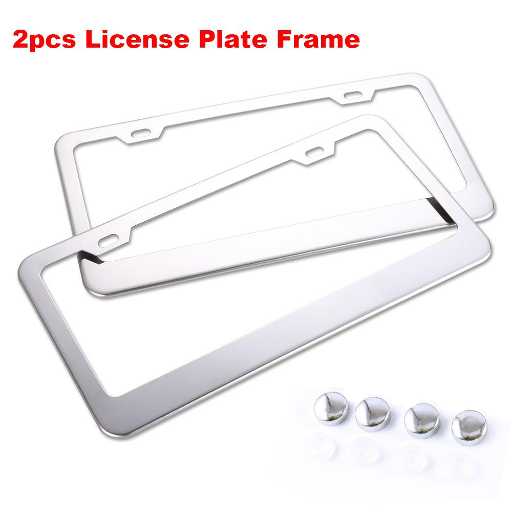 2PCS SLIM CHROME STAINLESS STEEL LICENSE PLATE FRAME SCREW CAP //SLIM 2 HOLE CF-2