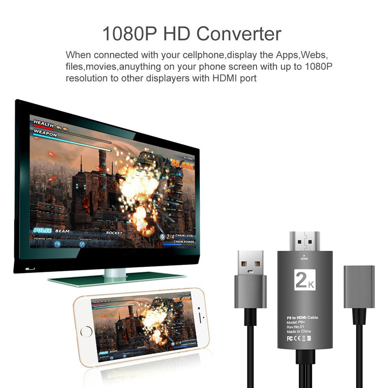 Details about 1080P HDMI Cable Adapter USB 2 0 HD Converter For iPhone XS  Android Type-C iOS
