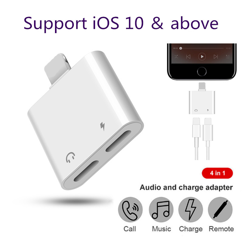 quality design 8cc8d 865ff Details about Dual Ports Headphone Music Jack & Charging Adapter For Apple  iPhone 7 8 Plus X