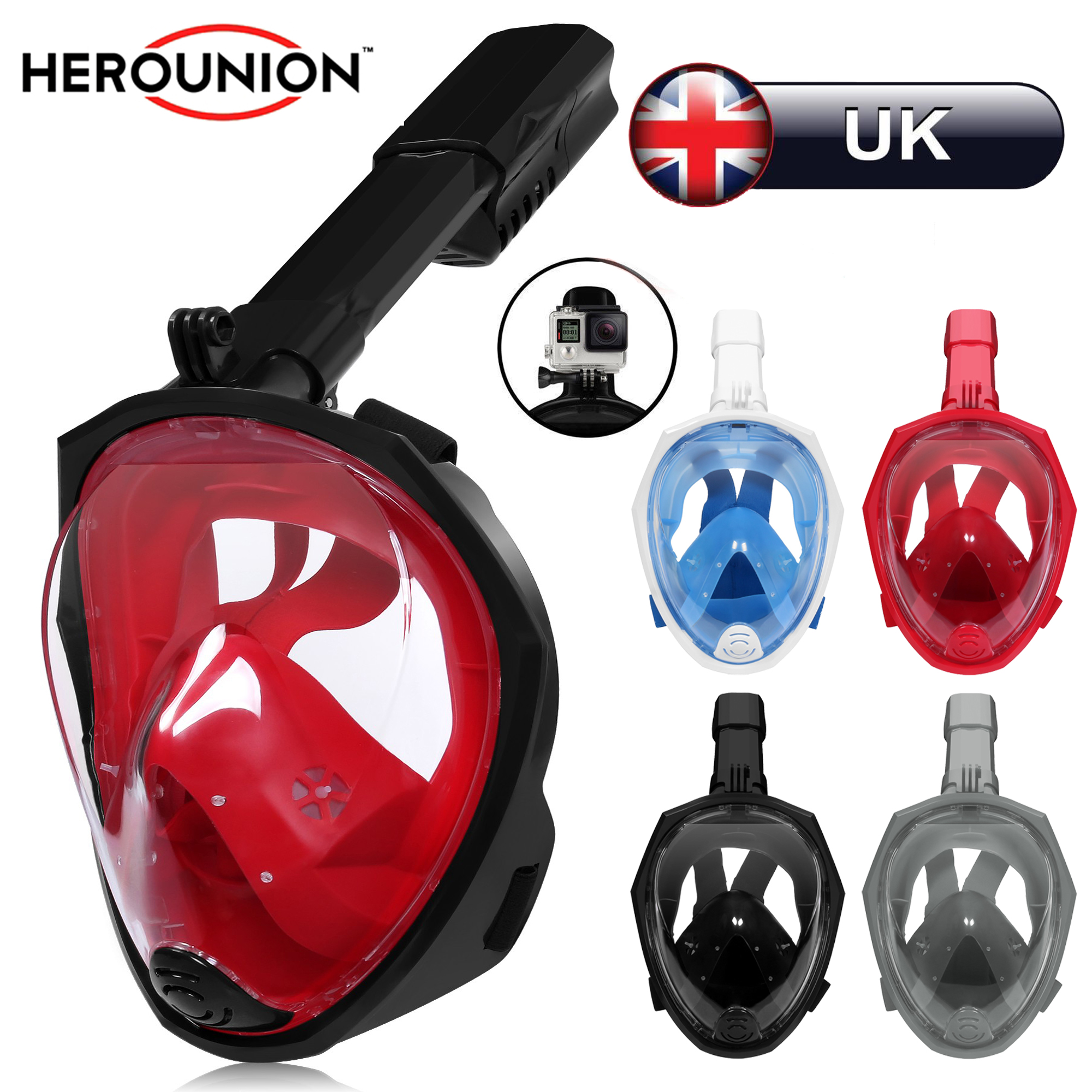 fbd9a63d2 Details about UK Full Face Snorkeling Mask Watersport Scuba Swimming Diving  Mask UK STOCK