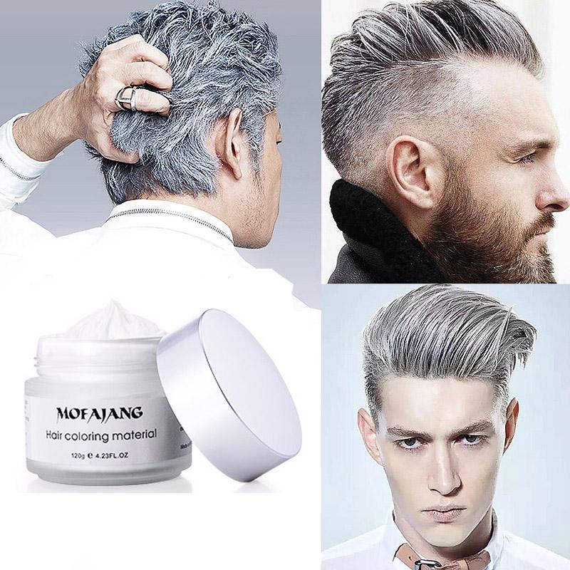 Men Women Silver Ash Grey Hair Wax Hair Pomades Natural Hairstyle
