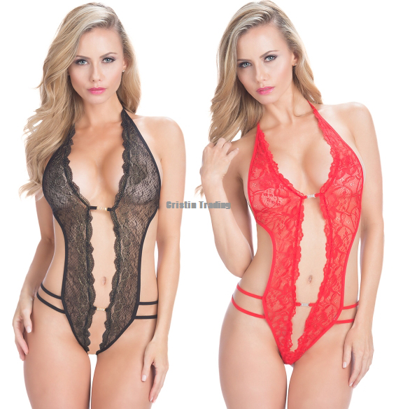 Details about Womens Sexy Rhinestone Halter Backless Lace Stretch Bodysuit  Teddy Lingerie 1a185e197c4