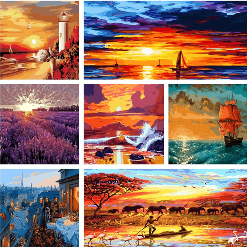 DIY Natural Sunset Art Paint By Number Kit Acrylic Oil Painting On Canvas Decor