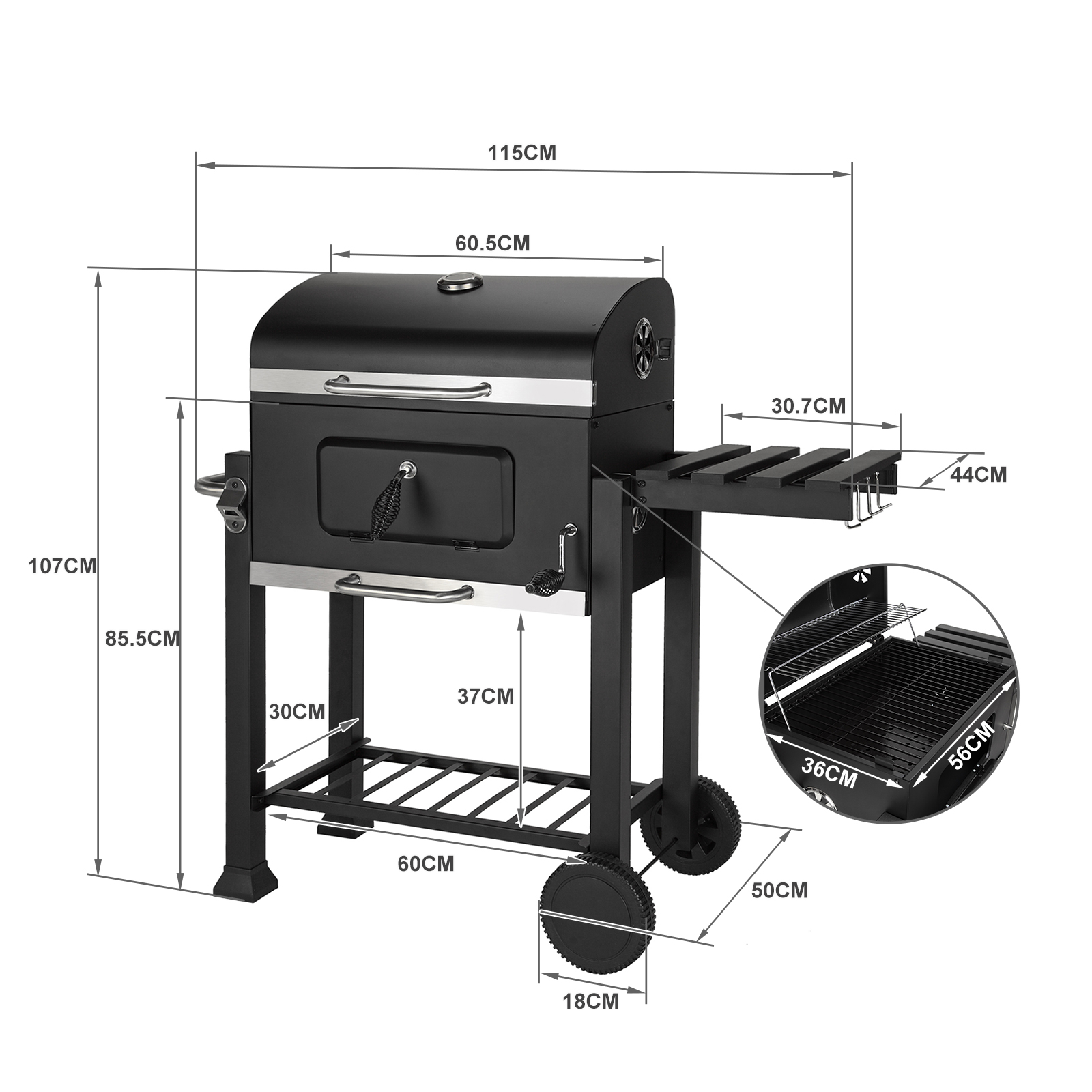 Large Charcoal Trolley Rectangular BBQ  Grill Portable Steel Garden Outdoor