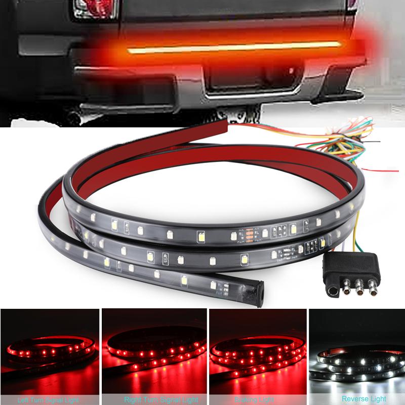 """60/"""" 90LED Truck Strip Tailgate Bar Light Reverse Stop Signal Red//White Light 12V"""