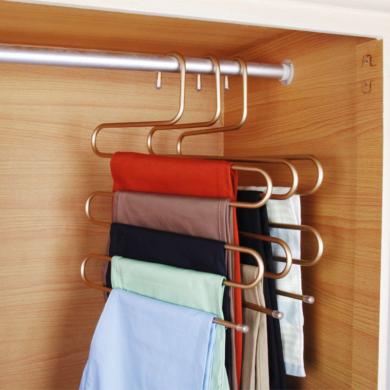 4 20Pack S Type Aluminium Alloy Clothes Pants Hangers 5 Layers Closet  Organizer