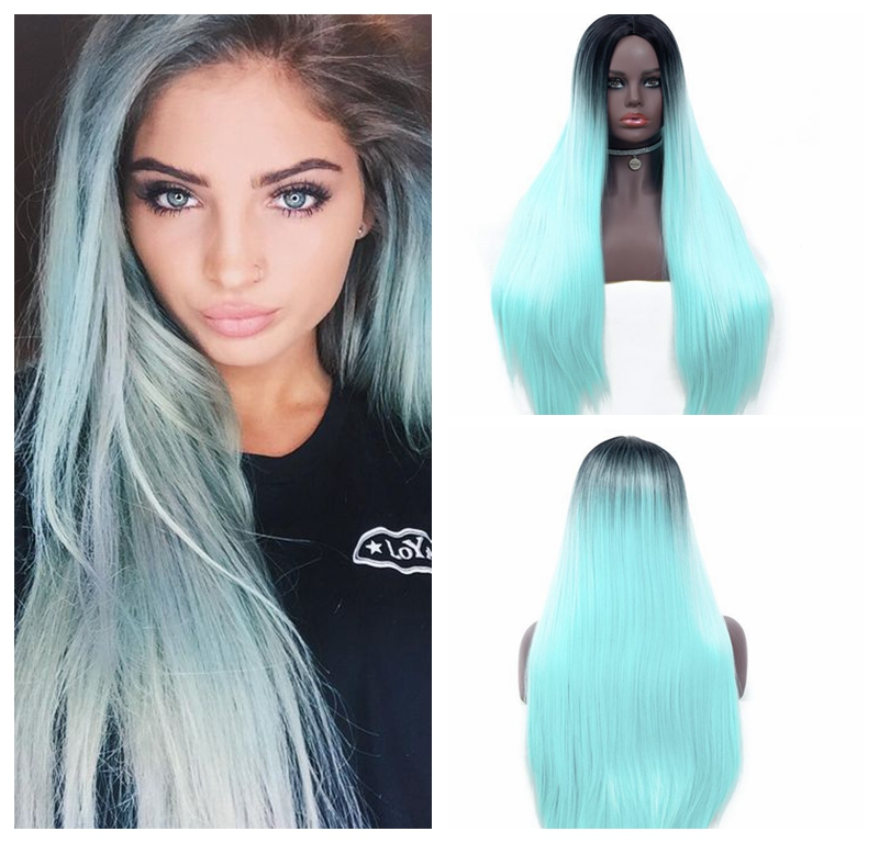 Synthetic Straight Long Wig Ombre Mint Green Hair Cosplay Sexy Wigs For  Women