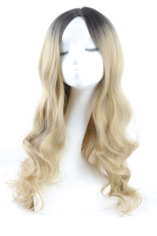 Women 22 Long Wavy Hair Full Wig Black Root Blonde Ombre Wigs