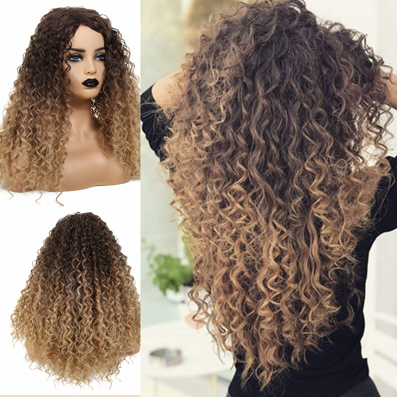 Details About Thick Women Curly Long Wig Brown Blonde Ombre Mixed Highlights Layers Afro Us
