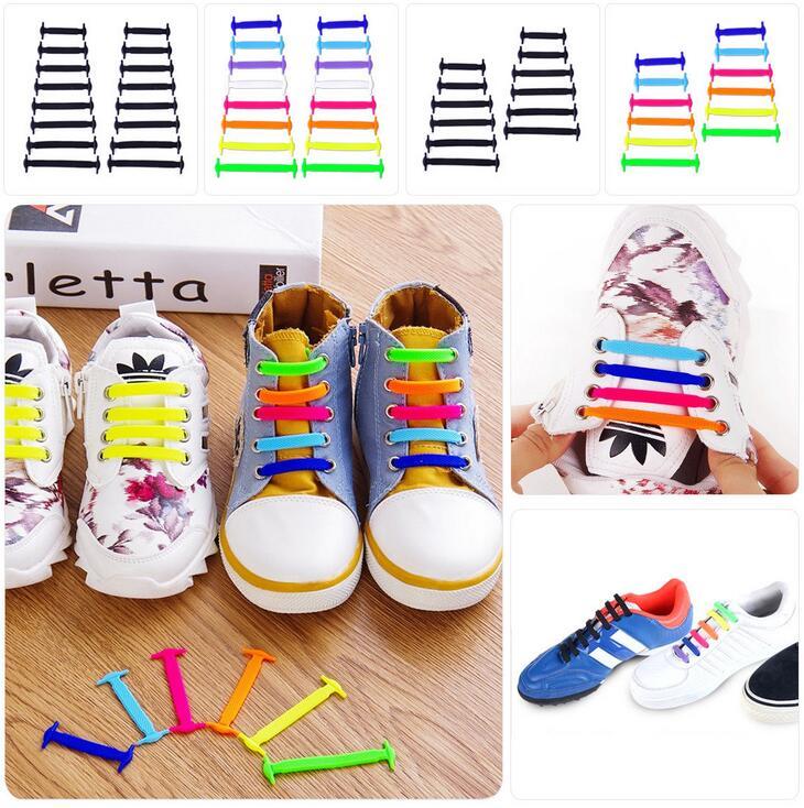 12 pcs Easy No Tie Shoelaces Elastic Silicone Flat Shoe Lace Set for Kids Adults
