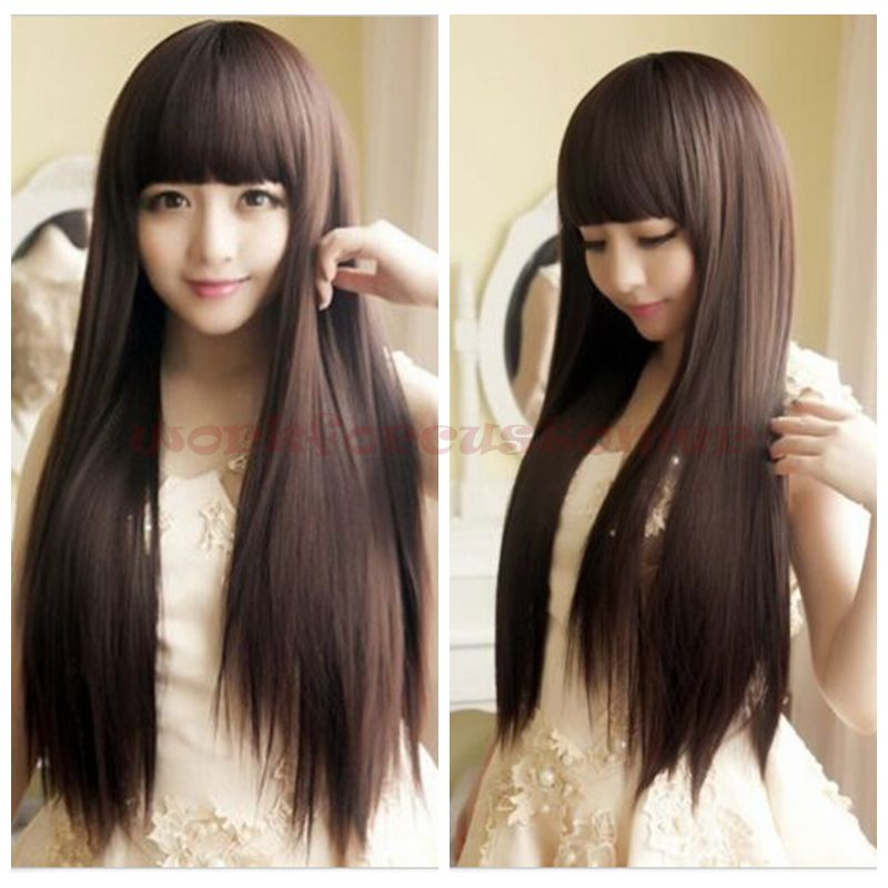 Details about Fashion Style Women s Girls Cosplay Party Long Straight Hair  Wigs Full Wigs New c47dc3715