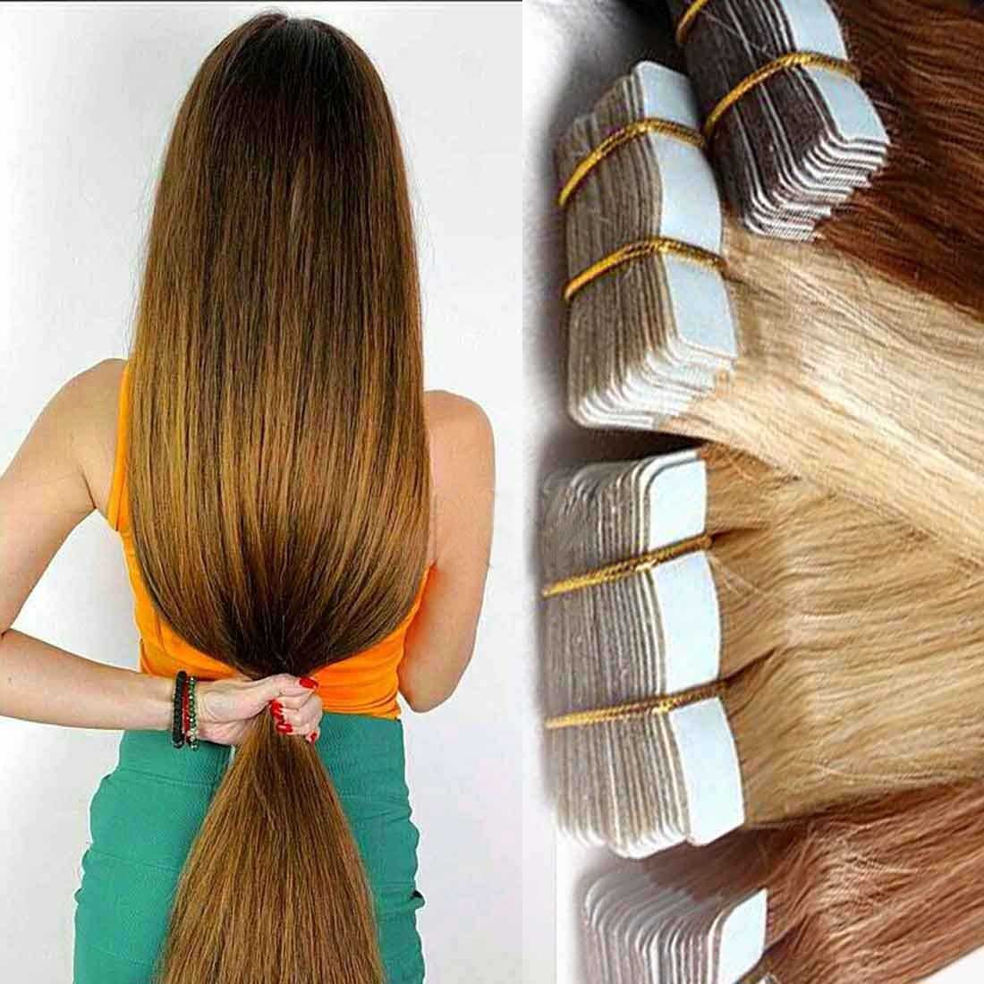 Full Head 20 60pcs Tape In Remy Human Hair Extensions Virgin Ombre
