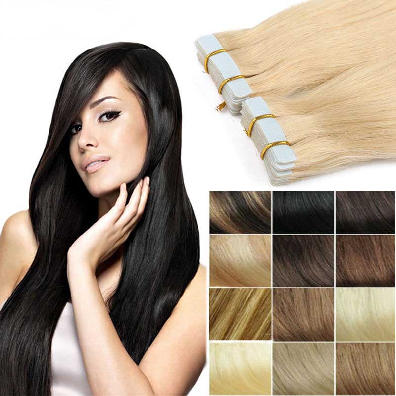 20pcs Tape In 100 Real Remy Human Hair Extensions Virgin Skin Weft