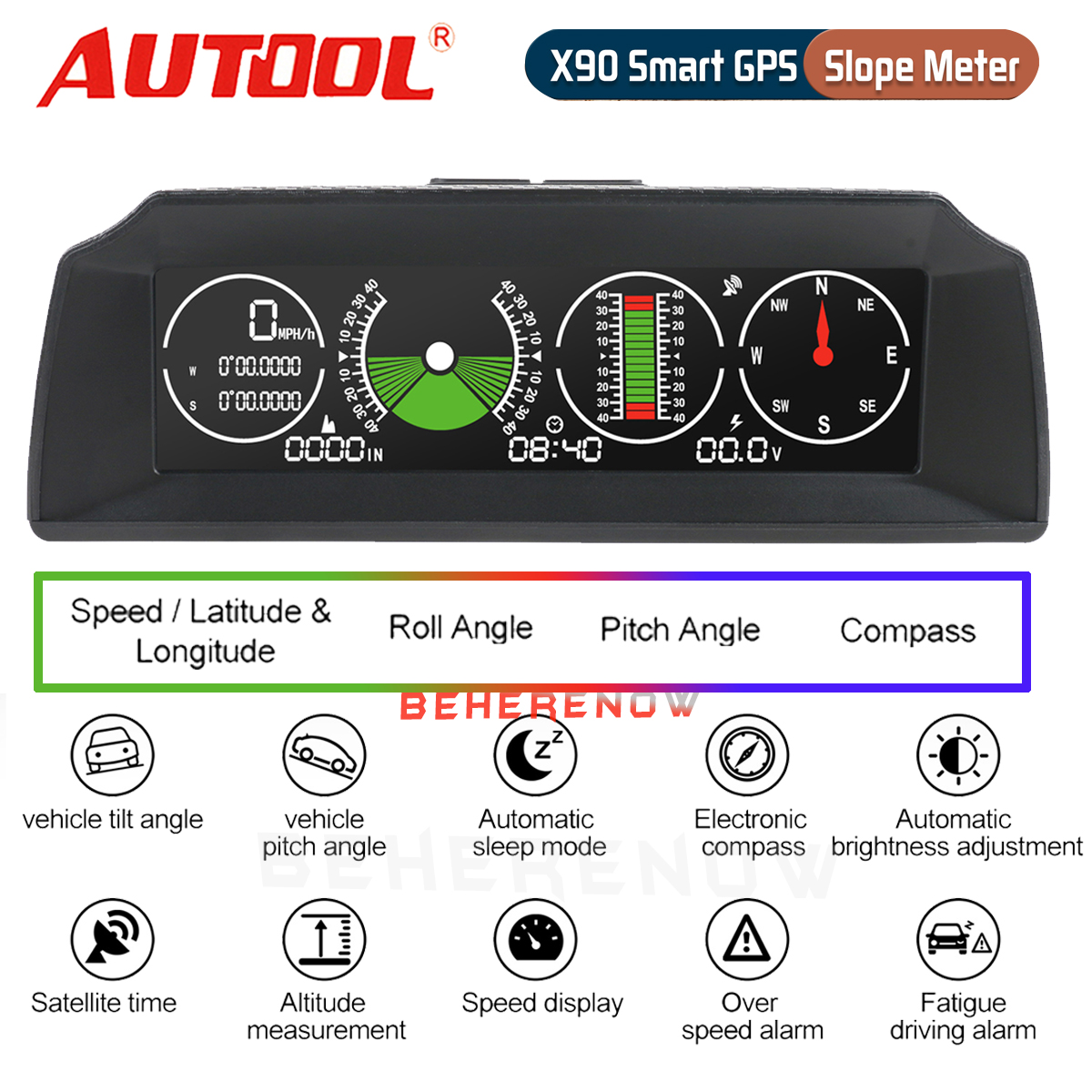Time Direction Autool X90 Smart GPS Slope Meter Color HD LCD Car Head Display Smart Digital Meter Alarm Speed Altitude Voltage Support 12V OBDII Diesel /& Gasoline Vehicles Slope
