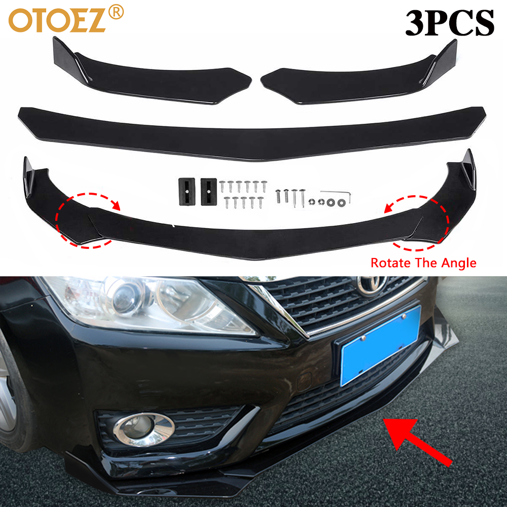 4 Pieces Car FrontFront Bumper Lip Body Kit ABS Bumper Lip Chin Spoiler Splitter Universal
