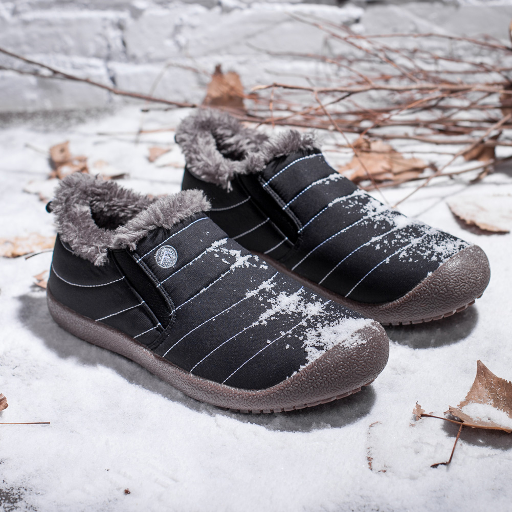 afad0159caa Details about Women Winter Waterproof Snow Boots Low-Top Slip-on with Fur  Lined Warm Sneakers