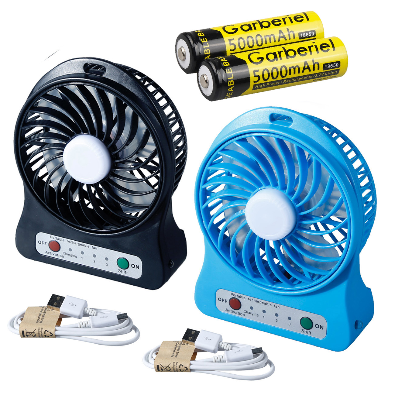 Portable USB Rechargeable Air Cooler Battery Powered Mini Desktop LED Fan